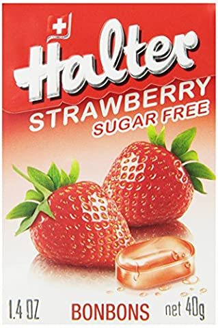 Halter Sugar Free Candy, Strawberry, 1.41-Ounce Boxes (Pack of 8) - Diabetic Sugar Free Candy