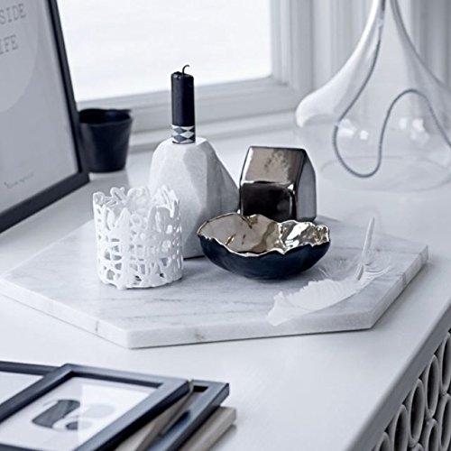 Marble Object Marbleobject Hexagon 6 inch Italian Carrara Flat Valet tray, Key tray, Jewellery tray, Wallet tray, Desk office tray Coaster