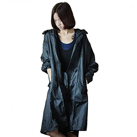 Geyao Coreano Moda Adulto Siamés Correr Viajes Impermeable Impermeable Poncho Mujer Taxi (Color : Black