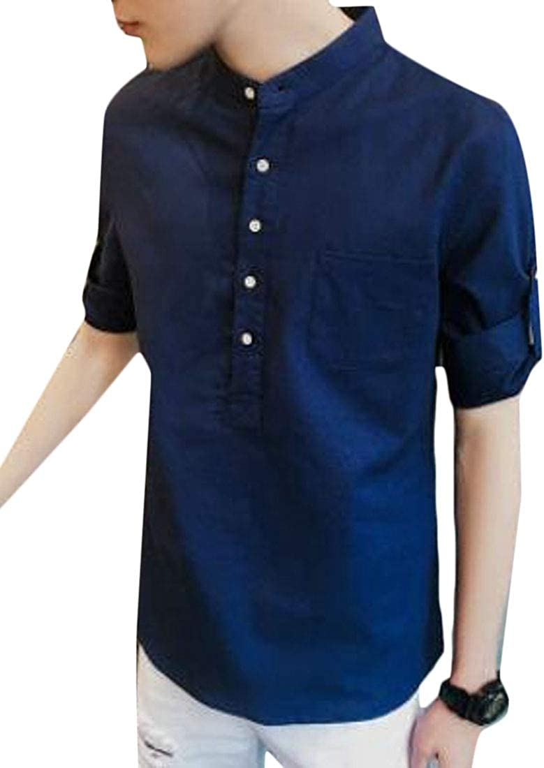 WSPLYSPJY Mens Casual Half Sleeve Cotton Linen Work Button up Pure Color Shirt
