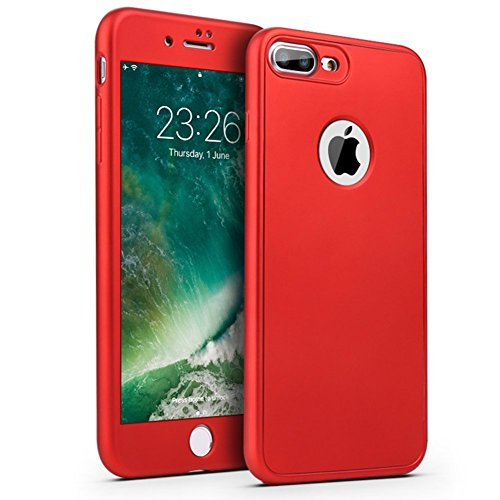 PHEZEN iPhone 7 Case,iPhone 8 Case, [360 Degree Full Body Coverage], Front and Back Protecive Soft TPU Silicone Rubber Case + Tempered Glass Screen Protector for iPhone 7/iPhone 8, Red