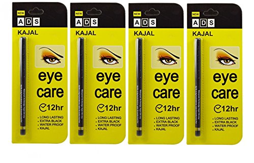 ADS EYECARE KAJAL PENCIL, 12 HOUR. EXTRA BLACK. LONG LASTING. WATER PROOF. KAJAL (PACK OF FOUR)