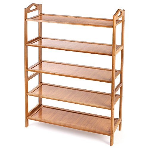 Pre Drilled Shoe Shelf - HOMFA Bamboo Shoe Rack 5-Tier Entryway Shoe Shelf Storage Organizer Free Standing Shelves