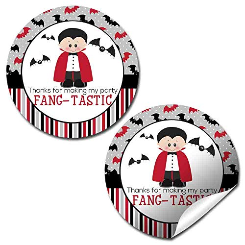 Dracula Fang-Tastic Halloween Vampire Birthday Thank You Sticker Labels, 40 2