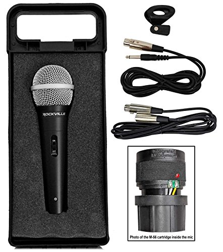 (Rockville RMC-XLR High-End Metal DJ Handheld Wired Microphone Mic w (2) Cables )