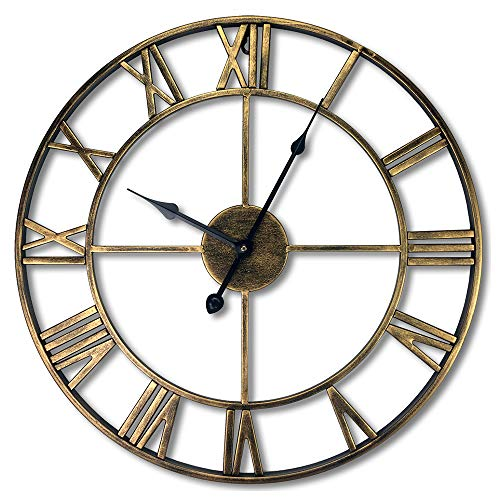 PLEASUR Large Vintage Wall Clock, 3D Classic Stunning Metal Frame Silent Non-Ticking Accessories with Roman Numeral Decorative Clock for Living Room Bedroom Kitchen Office, Bronze Gold, 40