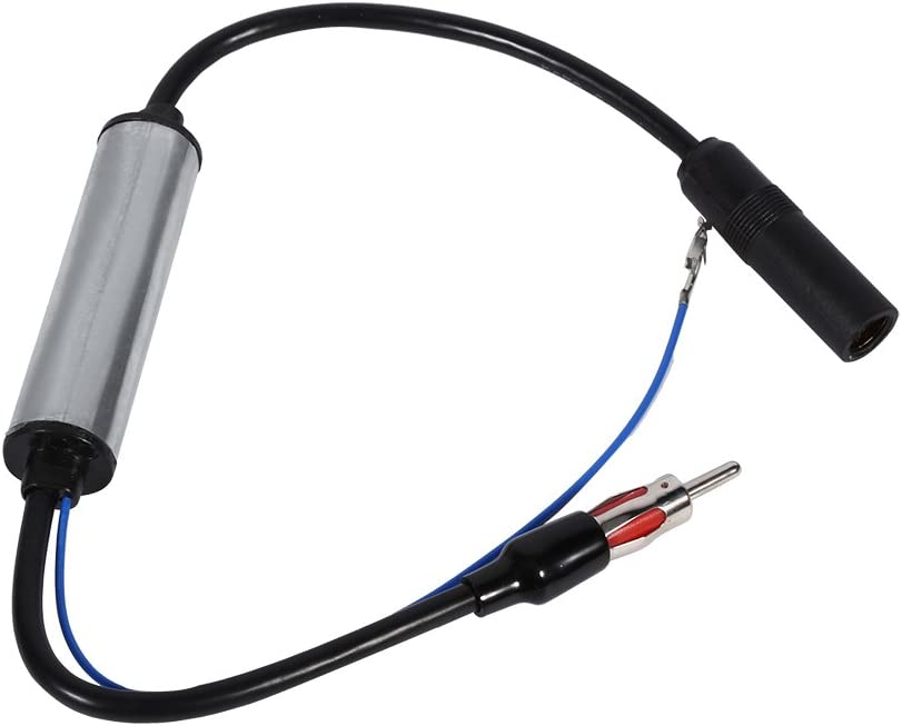 Qiilu Car Antenna Plug Radio FM Inline Signal Amplifier Booster Extension Cable