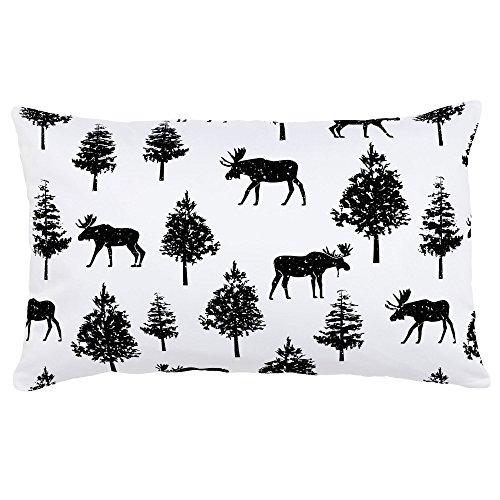 Moose Black Onyx - Carousel Designs Onyx Moose Lumbar Pillow - Organic 100% Cotton Lumbar Pillow Cover + Insert - Made in the USA