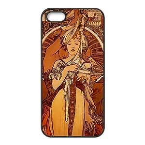 Zodiac Signs Alphonse Mucha iPhone 5 5s Cell Phone Case Black M3781918
