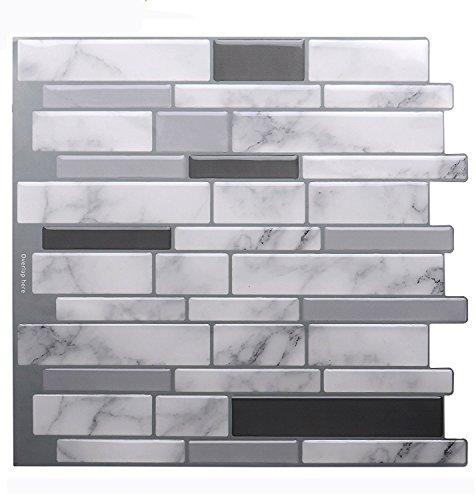 "Premium Anti Mold Peel and Stick Tile Backsplash,Stick On Backsplash Wall Tiles for Kitchen & Bathroom-Removable,Self Adhesive-10.62"" x 10"" (6 Sheets)"