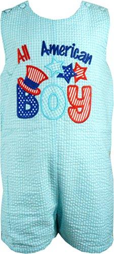 Baby Boys Patriotic All American Boy Aqua Blue Seersucker Shortall 6-12M