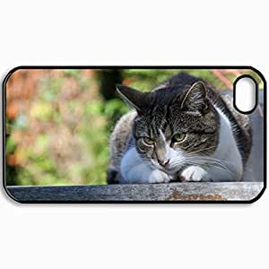 Customized Cellphone Case Back Cover For iPhone 4 4S, Protective Hardshell Case Personalized Cat Down Face Eyes Mottled Black