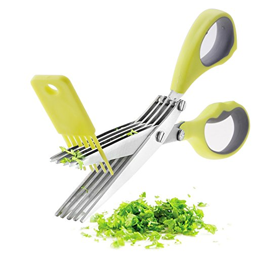 Shallot Stainless Handle - Handheld Herb Scissor Shears with 5 Blades, Stainless Steel Herbs Cutting Shears with PP Cover & Anti-Slip Soft Rubber Handles, Kitchen Scissors Safe for Shallot Chives Mint Leeks Parsley