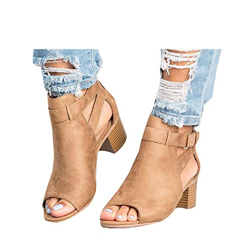 Ruanyu Womens Peep Toe Booties Cutout Ankle Strap Buckle Heeled Summer Sandals