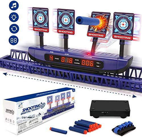 BEAURE Moving Targets for Nerf Guns – Auto Reset Electronic Scoring Shooting Digital Targets, Shooting Games Sniper Toys for Boys – Ideal Toys Gift for Kids Age of 5,6,7,8,9,10 Years Old Boys & Girls