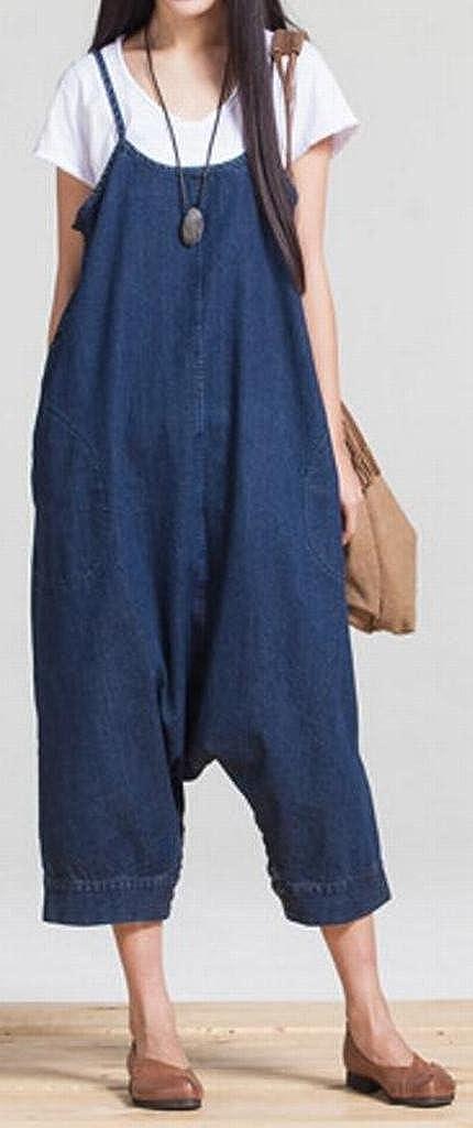 Fensajomon Women with Pockets Straps Baggy Ankle Plus Size Dress Summer Denim Overalls