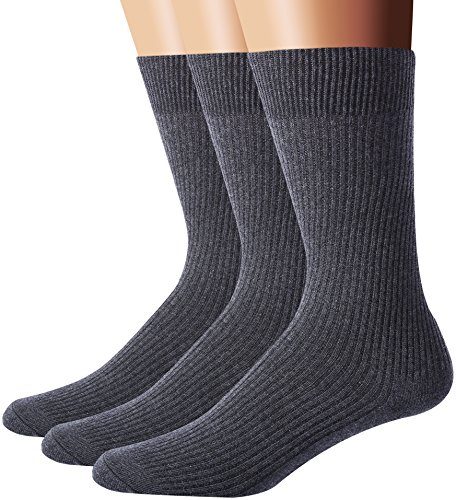 Flora&Fred Men's 3 Pair Pack Classic Ribbed Knit Cotton Dress Crew Socks,Dark Gray,Shoe Size 6-10