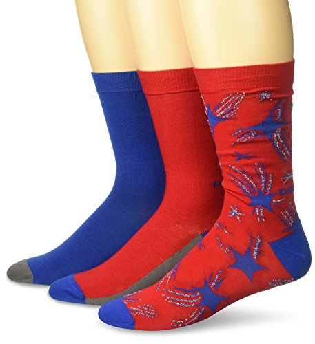 Diesel Men's Ray Three Pack Star Socks, Red, SMALL