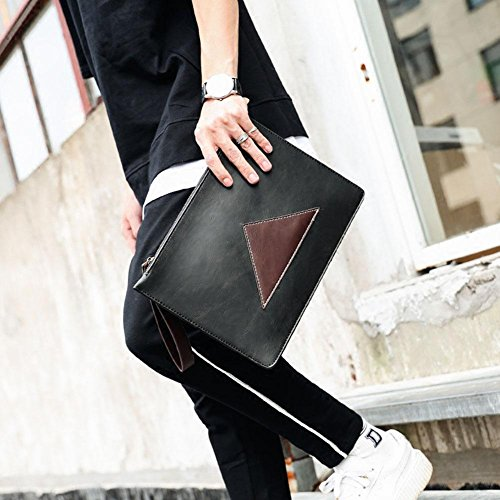 Handbag Wallet Men Nabao Leather Stitching Pu Black TRqxUvaw