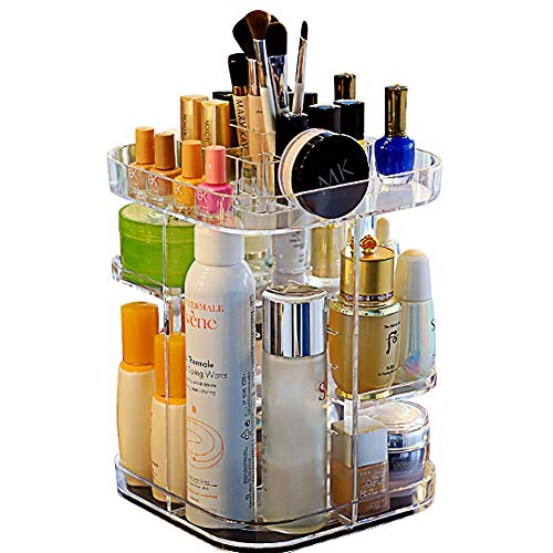 360 Degree Rotating Makeup Organizer, Adjustable Multi-function Makeup Storage Display Stand Rack, Large Capacity Round Cosmetic Storage Holder for Countertop, Bathroom, Dressing Table (Transparent)