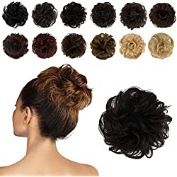 FESHFEN 100% Human Hair Scrunchies (2# Dark Brown) Curly Messy Hair Bun Extensions Wedding Hair Pieces for Women Kids Hair Updo Donut Chignons