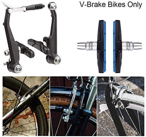 RETYLY バイク?ブレーキ?パッドセット、3組 道路マウンテンバイク?Vブロック?ブレーキ?シューズ、六角ナットとシム、騒音なしスキッドなし、70mm(ブルー)