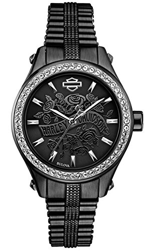 Harley-Davidson Women's Flower Power Black Dial Wrist Watch. 78L118