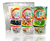 3-Pack Boba Tapioca Pearls 3 varieties with 1 pack of 50 Boba Wide Straws Bubble Tea Ingredients