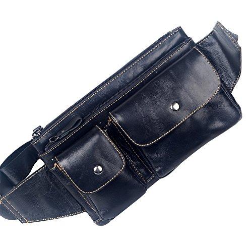 Genda 2Archer Bolso de la Cintura los Hombres de Cuero, Bolso del Cruz-cuerpo, la Bolsa Riñonera (marrone) nergo