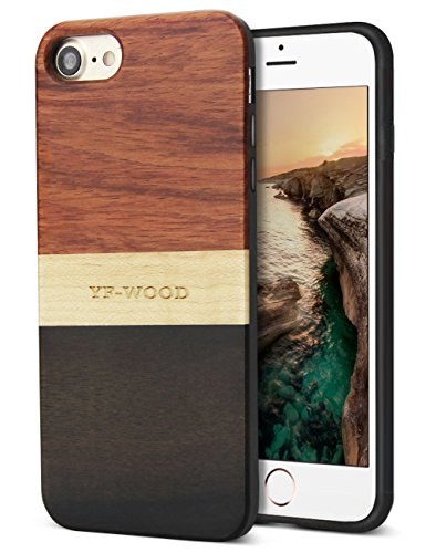 YFWOOD Compatible for iPhone 8 Case Wood, Natural Wood Grain Stripe Design Hybrid Silicone Cushion Slim Bumper Heavy Duty Protective Case Compatible with iPhone 7/8 ()