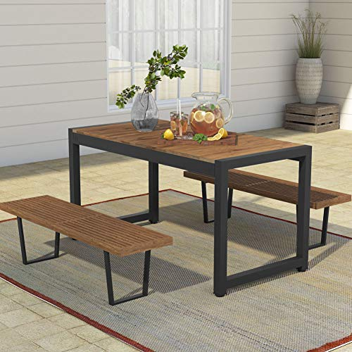 Tribesigns Solid Wood Dining Table, Outdoor Patio Dining Table Furniture with Metal Frame Perfect for Patio, Benches Not Include
