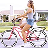 """sixthreezero Around The Block Women's 7-Speed Beach Cruiser Bicycle, 26"""" Wheels, Teal Blue with Brown Seat and Grips"""