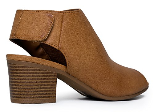 Peep Toe Bootie – Low Stacked Heel - Open Toe Ankle Boot Cutout Velcro Enclosure,Tan Pu,8 B(M) US by J. Adams (Image #3)