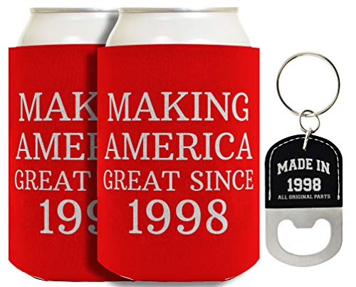 21st Birthday Gifts Making America Great Since 1998 2-pack Can Coolies and Bottle Opener Keychain Bundle