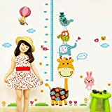 Decals Design 'Height Chart Giraffe with Friends and Patterns' Wall Sticker (PVC Vinyl, 90 cm x 60 cm),Multicolour
