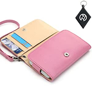 ZTE U880E Wallet Clutch Carrying Cover Case|Built-In Credit Card Slots and Detachable Wristlet- Pink NuVur &153;