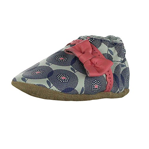 Robeez Baby-Girl Grey Pink Circle Print Soft Sole Leather Baby Shoes (Infant Pre-walker crib shoe) 12-18M