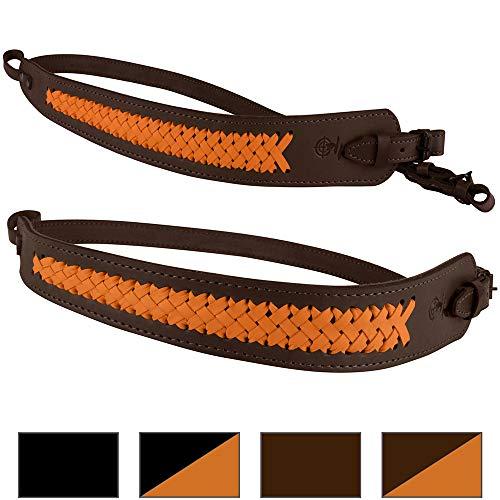 BronzeDog Genuine Leather Rifle Sling Braided Shotgun Strap Durable Hunting Shoulder Belt  (Brown Orange Braiding)