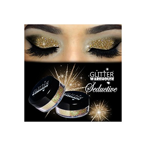 GlitterWarehouse Seductive Light Gold Holographic Cosmetic Loose Glitter Powder for Eyeshadow, Makeup, Nail Art, Body Tattoo