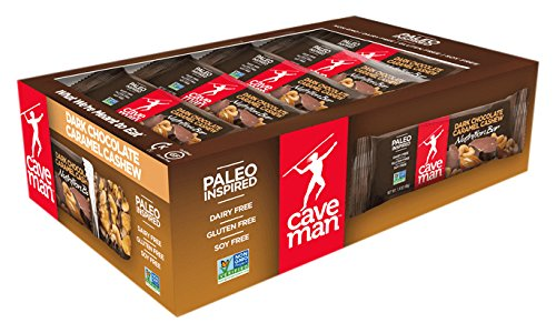 Caveman Foods Paleo-Friendly Nutrition Bar, Dark Chocolate Caramel Cashew, 15 Count