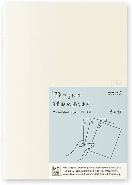 Midori MD cuaderno luz (A5, cuadriculados) 3 pcs/Pack: Amazon.es: Oficina y papelería