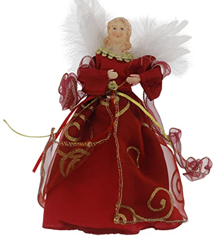 Elegant Christmas Holiday Angel Treetop Tree Topper Decoration, Red or Gold, Assorted, 9