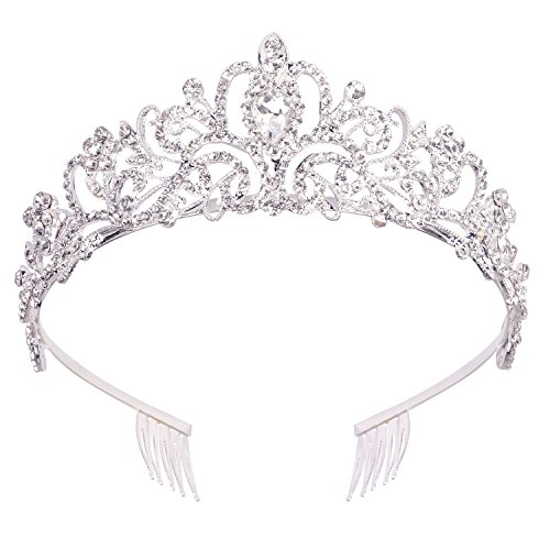 Didder Silver Crystal Tiara Crown Headband Princess Elegant Crown with combs for Women Girls Bridal Wedding Prom Birthday -