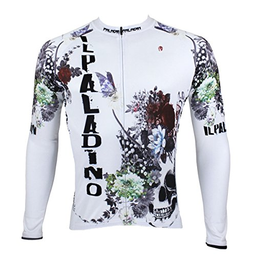 ILPALADINO Men s Cycling Jersey Long Sleeve Biking Shirts Breathable Quick  Dry Flower Skulls White (XXXL 07909cfb1