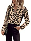 Imysty Womens Leopard Print V Neck Shirts Blouses Casual Long Sleeve Button Down Tunic Tops (Small, A6-Yellow)