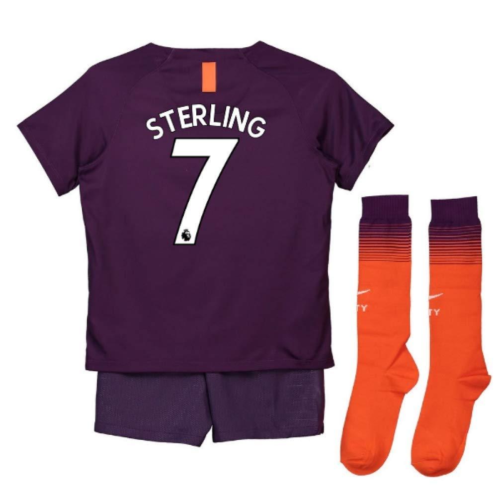UKSoccershop 2018-2019 Man City Third Nike Little Boys Mini Kit (Raheem Sterling 7)
