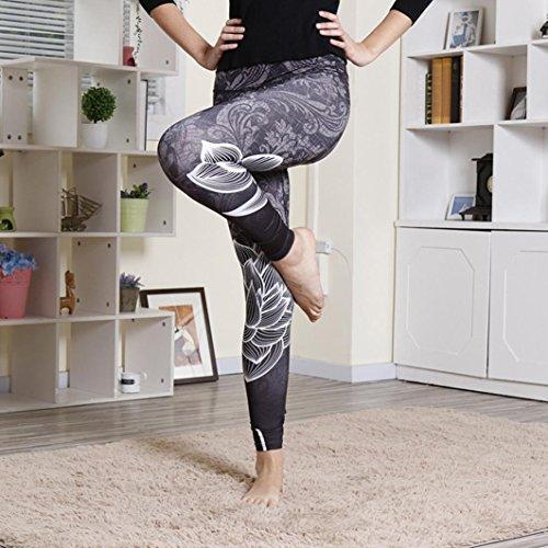 Napoo Clearance Women Lotus Print High Waist Pleated Fitness Leggings Yoga Stretch Pants
