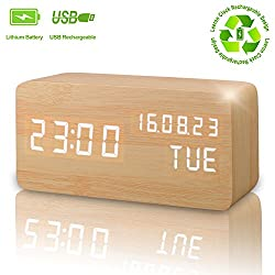 Wooden Digital Alarm Clock, Displays Time Date Week And Temperature, Cube Wood-shaped Sound Control Rechargeable Desk Alarm Clock for Kid, Home, Office, Daily Life, Heavy Sleepers(Wood - rechargeable)