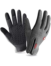 Zenoplige Cycling Gloves, Three-finger Touch Screen Upgraded Zipper Windproof Waterproof Winter Outdoor Sports Gloves For Cycle Skiing Hiking Climbing Camping Driving Gardening For Men Women