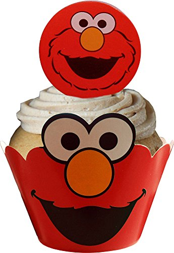 Elmo Cupcake Wraps and Toppers (12 Wraps & 12 Toppers Supplied)